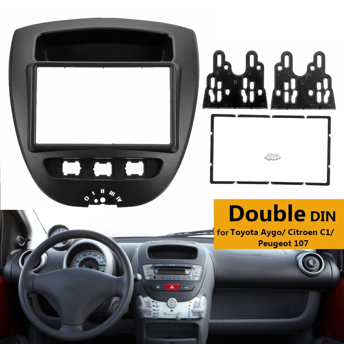 все цены на 2 Din Car Stereo Radio Fascia Panel Plate Frame CD Panel Dashboard Audio Frame for Toyota Aygo for Citroen C1 for Peugeot 107 онлайн