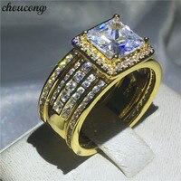 Choucong 3 в 1 кольцо Принцесса ясно 5A Циркон CZ желтый Золотое покрытие серебро 925 Обручение обручальное кольца для Для женщин мужчин