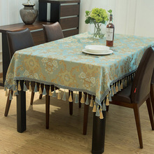 European luxury Rectangular tablecloth Modern polyester Jacquard flowers table cover Party decoration cloth with braid