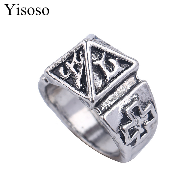 Yisoso Titanium Steel Jewelry Cross Pyramid Self-defense Rings Punk Ring For Men And Women Special Biker Jewellry
