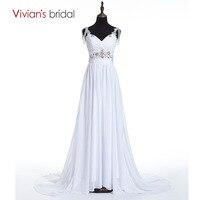 Vivian S Bridal Sparkly Beading Crystal Elegant Chiffon Boho Beach Wedding Dress Bohemian Vestidos De Novia