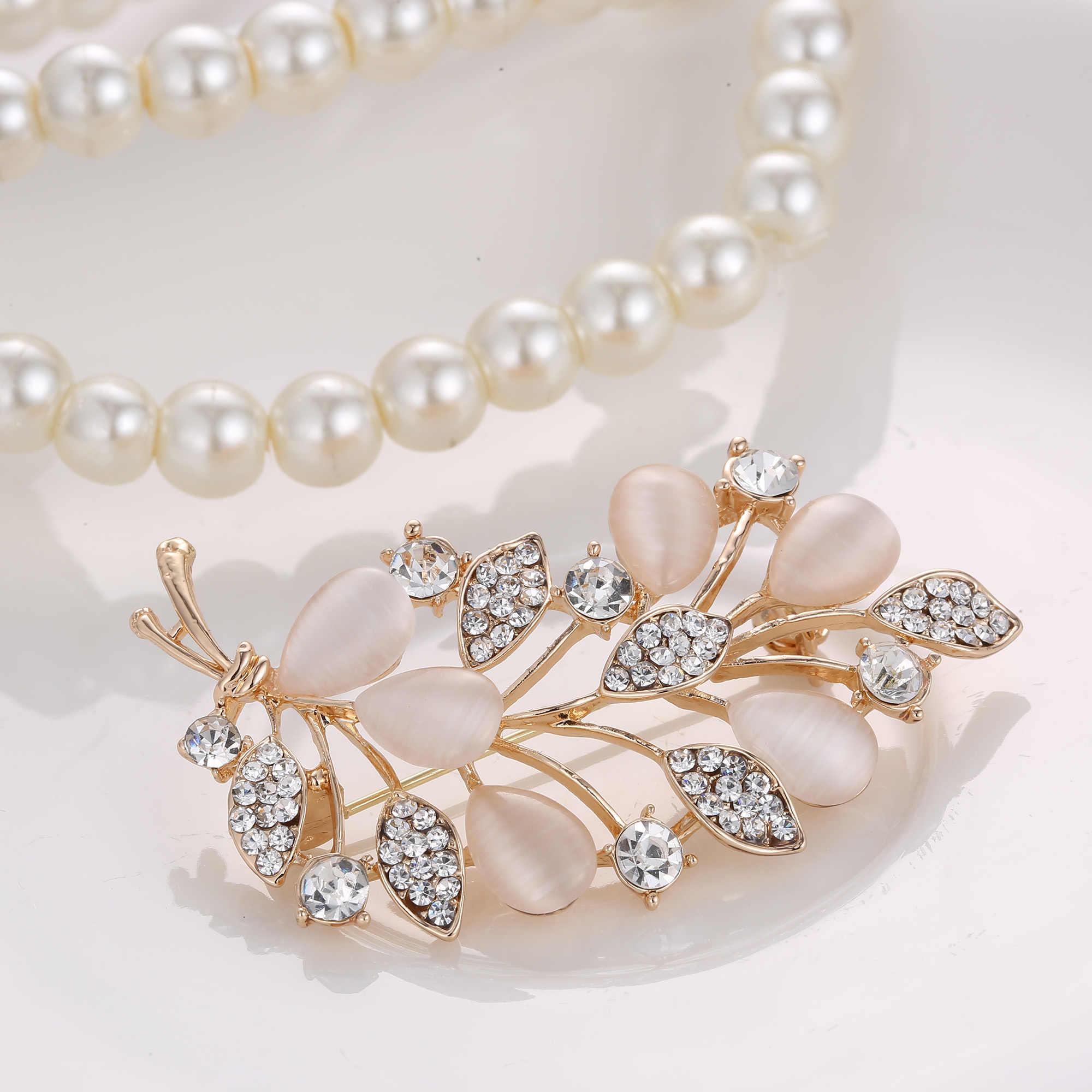 Rinhoo คริสตัล Rhinestone ดอกไม้เข็มกลัดสำหรับงานแต่งงานของผู้หญิงเสื้อผ้าอุปกรณ์เสริม Elegant Lady Casual เครื่องประดับ
