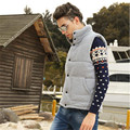 New Arrival Mens Autumn Winter Fashion Stand Collar Solid Vest Thicken Warm Cotton Padded Waistcoat Sleeveless Jacket A1486