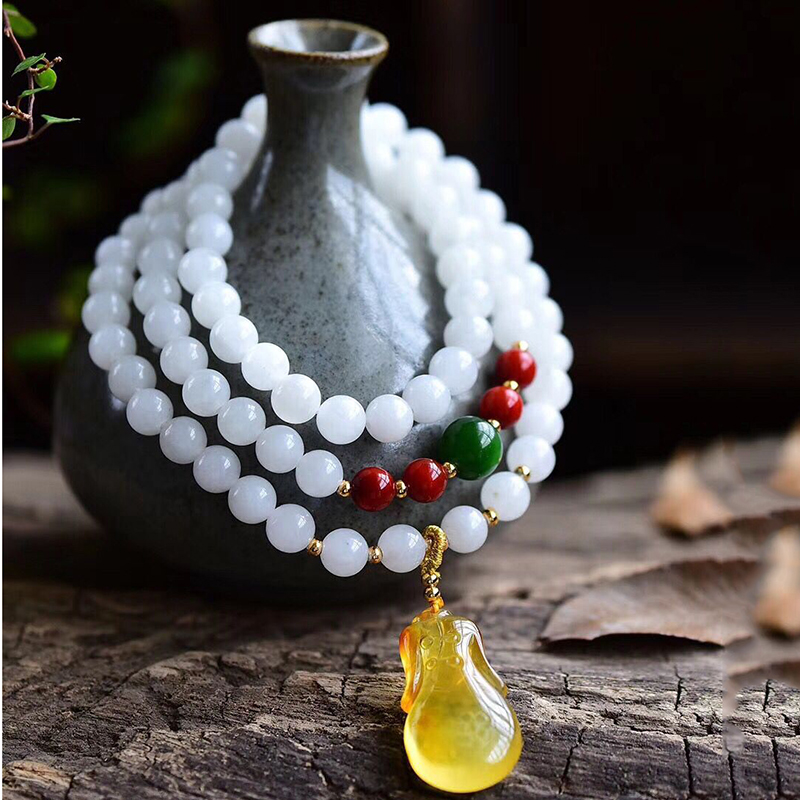 Fine JoursNeige White Natural Stone Bracelets Beads 6mm Yellow Cheongsam Pendant Bracelets for Women Crystal Bracelet Jewelry joursneige natural tourmaline bracelets crystal necklace for women women simple and fresh crystal bracelet multilayer jewelry
