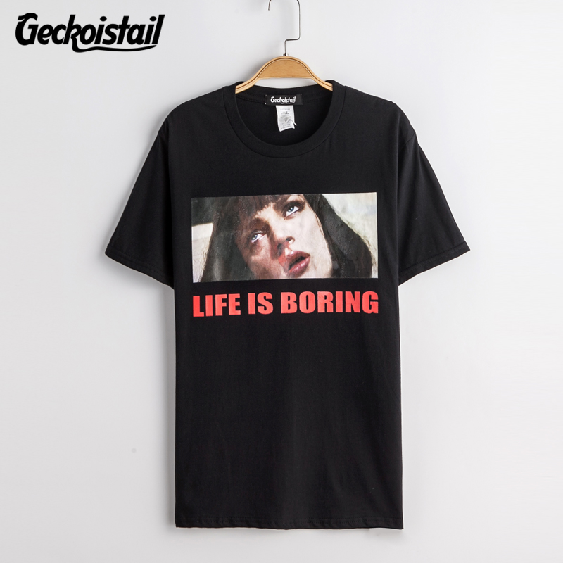 b3b6f9dc3 Geckoistai Harajuku Pulp Fiction Ins Hot Style Life Is Boring Tshirt Letter  Printed Nosebleeds Women Loose Short Seeve T shirt-in T-Shirts from Women's  ...