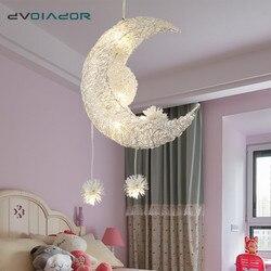 Современный светодиодный подвесной светильник для гостиной, спальни, столовой, подвесной светильник, Подвесная лампа с Луной и звездой, Дет...