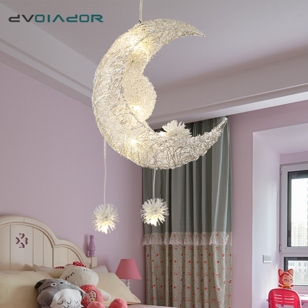 Modern LED Pendant Light For Living Room Bedroom Dining Room Hanging Lamp Moon Star Pendant Lamp Children Bedroom Light Luminare