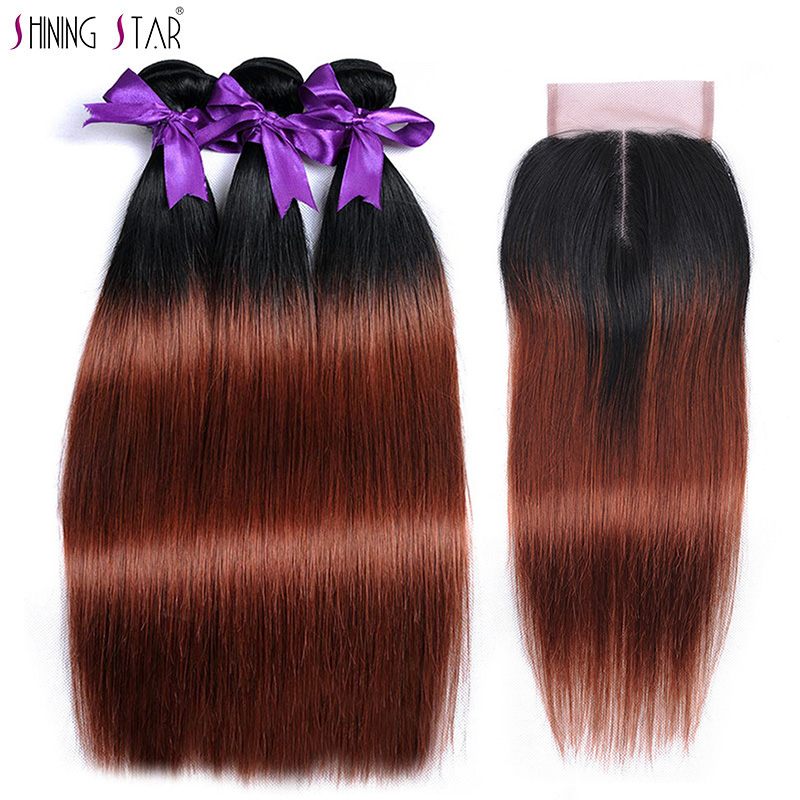 Brown Red 3 Ombre Bundles With Closure Human Hair Colored 1B 33 Brazilian Straight Hair Bundles