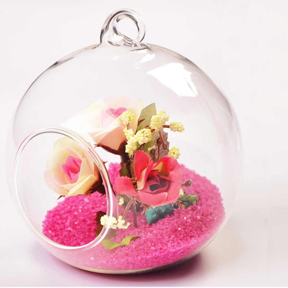 قطر 8 سنتيمتر زجاج معلق زهرية الزهور النبات الجدول زهرية حامل حامل Terrarium الحاويات اليدوية الحرفية هدية الزفاف ديكور زهرية