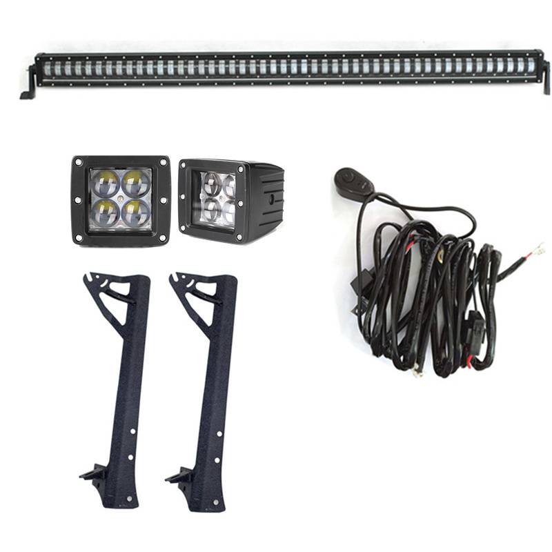 Marloo 1Pc 50inch 384W LED Wrangler Car light bar ,2Pcs 4D 20W LED Work Pods Light Spot Lamps ,1Set 50inch Roof Mounting Bracket