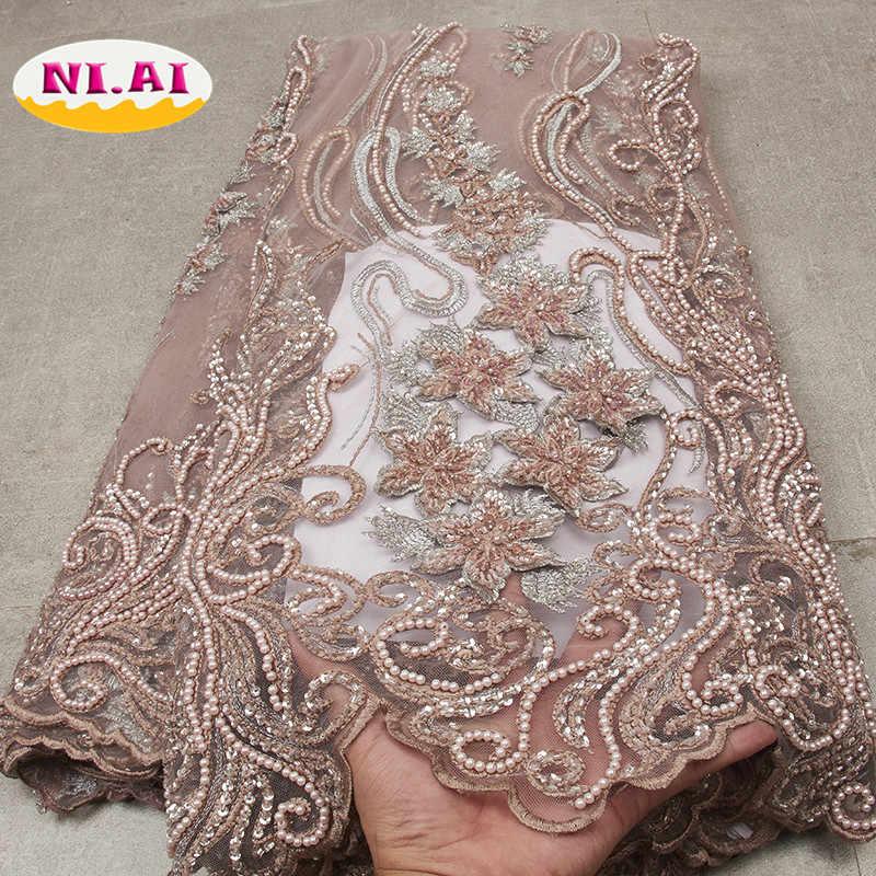 Африканская кружевная ткань 2019, высококачественное кружево, роскошное кружевное Новое плотное платье, модное Свадебное кружево для шитья Mr2564b
