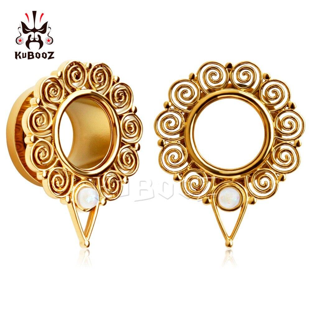KUBOOZ Piercing screw back ear plugs piercing body jewelry gold ear tunnels stainless steel opal gauges