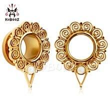 KUBOOZ Piercing screw back ear plugs piercing body jewelry gold ear tunnels stainless steel opal gauges wholesale