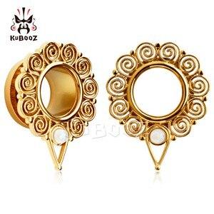Image 1 - KUBOOZ Piercing screw back ear plugs piercing body jewelry gold ear tunnels stainless steel opal gauges wholesale