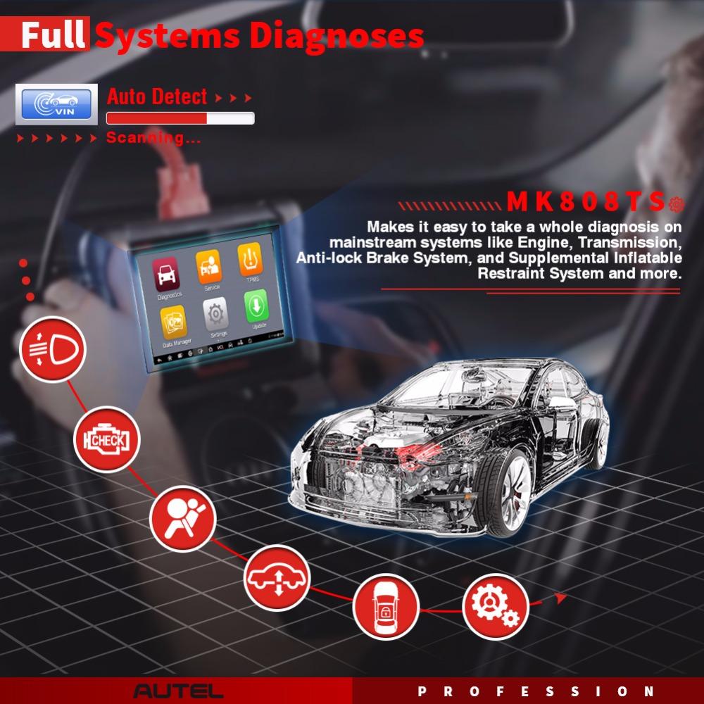 Image 2 - Autel MaxiCOM MK808TS Professional OBD2 Bluetooth Car Diagnostic Scan Tool OBD 2 Scanner Programing TPMS Sensor PK MK808 MK808BT-in Code Readers & Scan Tools from Automobiles & Motorcycles