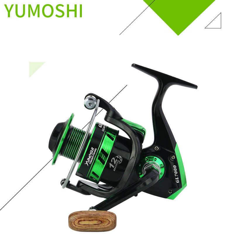 YUMOSHI VISSEN REEL 5.5: 1 12BB KOGELLAGER 1000-7000 SERIE METAL SPOOL SPINNING REEL KARPER CARRETILHA PESCA VISSEN SHIMANO