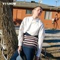 VIISHOW Мужчины Рубашка С Длинным Рукавом Slim Fit Лоскутная трикотажные Рубашки Мужчины Хлопок Мода Полосатый Мужчины Clothing CC1120171