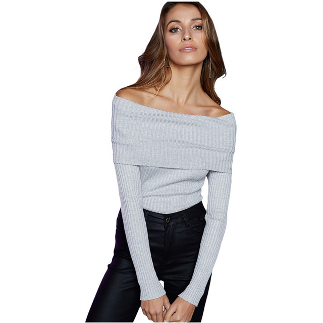 Cfanny 2017 Sexy Bodysuit Top Off Shoulder Ribbed Knit Long Sleeve Bodysuit Women Bodycon Jumpsuit Casual Autumn Winter Sweater