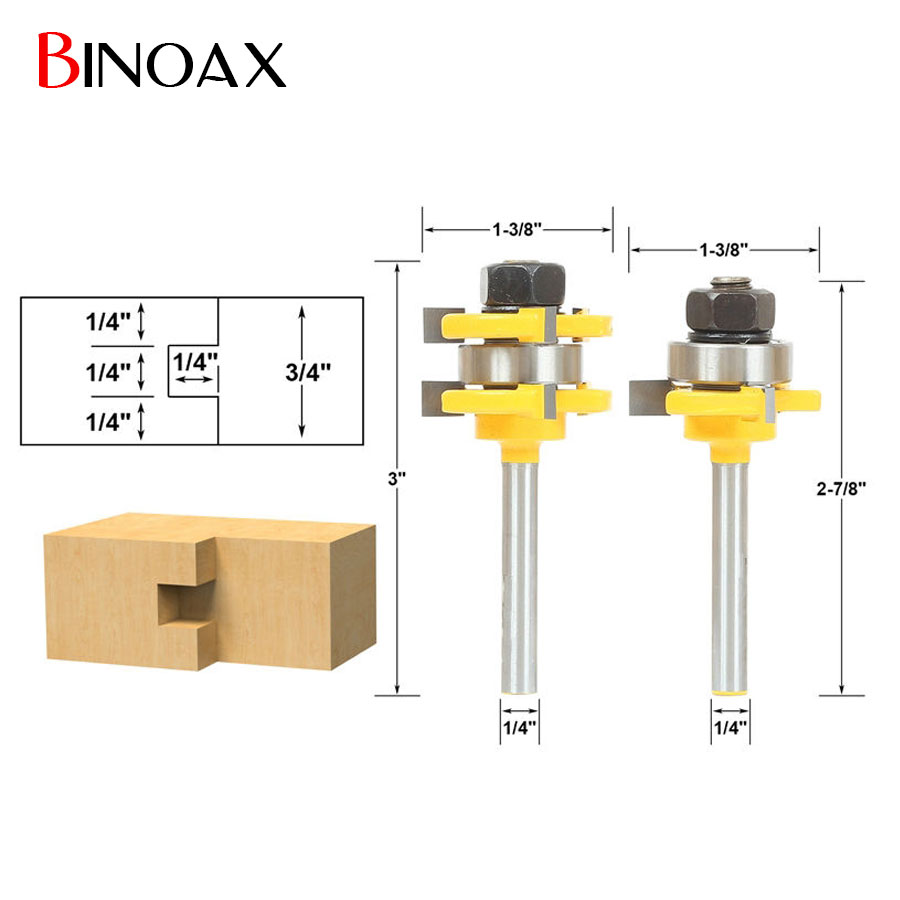 Binoax 2pcs/set Tongue and Groove Router Bit Set Woodworking Tools - 1/4 Shank 2pcs tongue