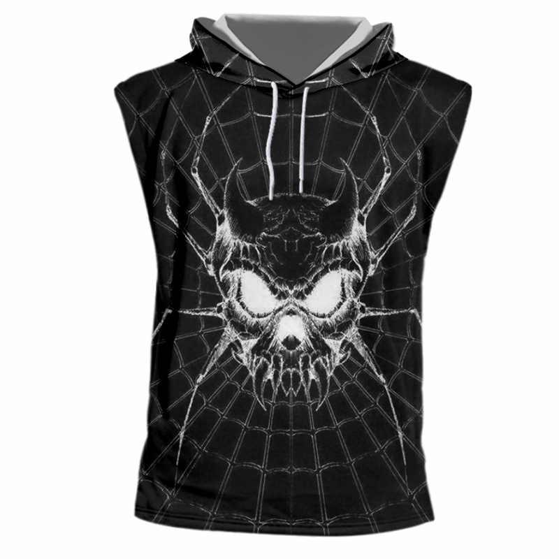 Ogkb летние топы Для женщин/мужская одежда с классным принтом с украшениями пауками черепами 3D топ с капюшоном для мужчин в стиле хип-хоп худи без рукавов пуловеры Кепки вязаные топы без рукавов