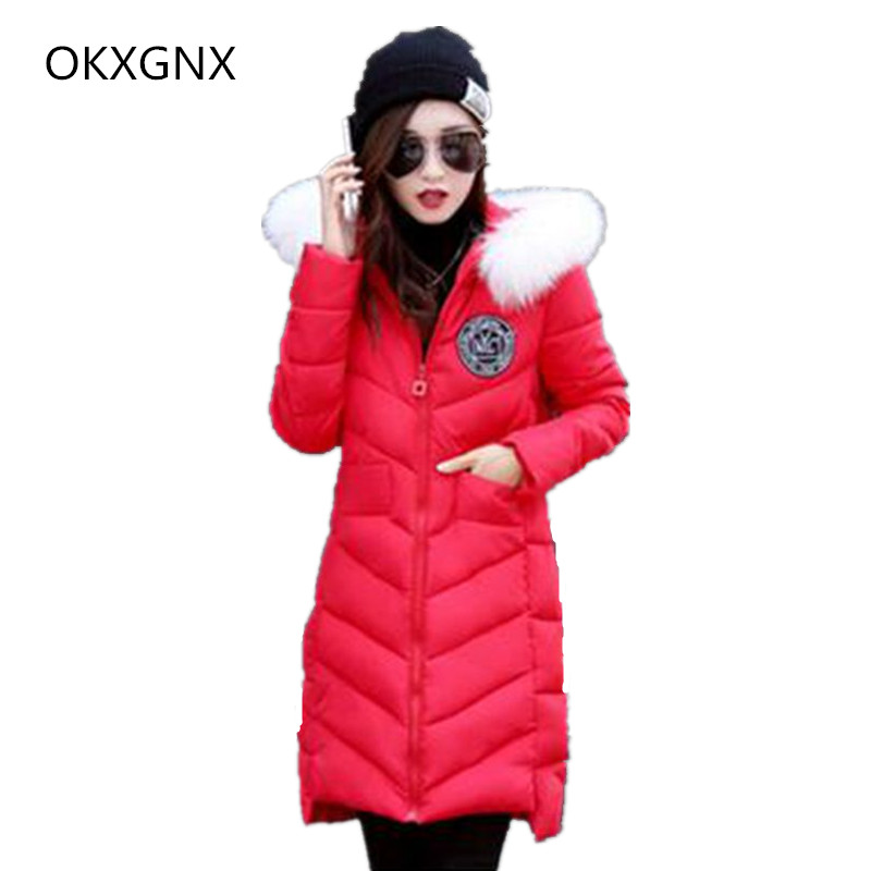 OKXGNZ Female Winter Clothes 2017New Winter Fashion Big yards Women Coat Medium long hooded fur collar Cotton jacket Coat QQ148 female rabbit raccoon fur coat and long sections nagymaros collar coat 2014 new winter fur clothes big yards free shipping