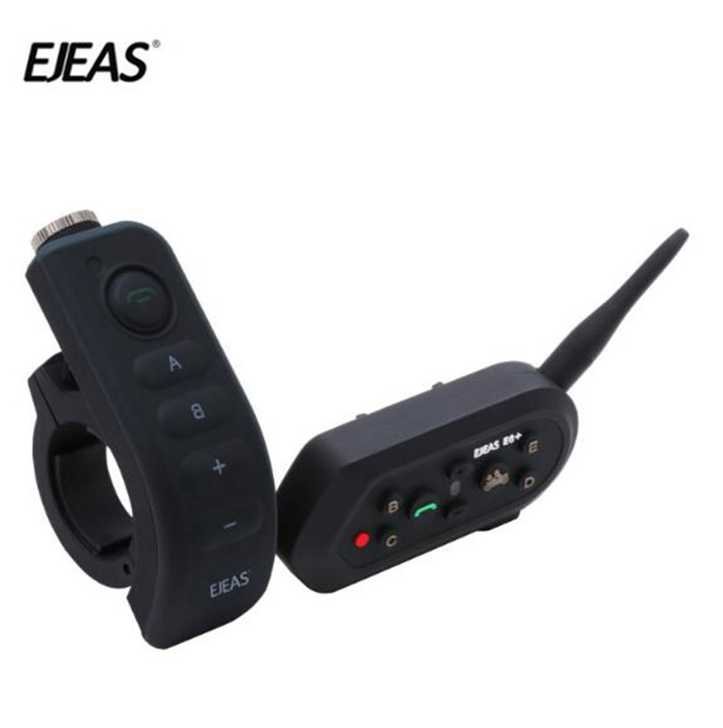 EJEAS E6 Plus BT Motorcycle Helmet Intercom 1200M Communicator Interphone Headsets VOX with Remote Control For 6 Riders