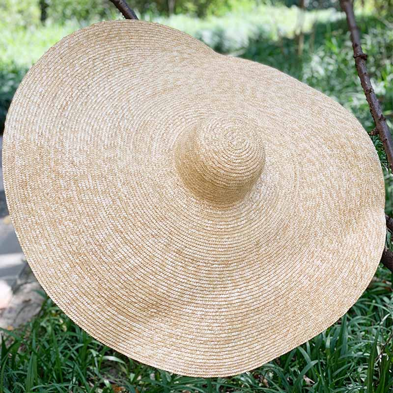 Image 4 - Free Shipping Handcrafted Extra Large Wheat Straw Hat Floppy Wide Brim Beach Hat Women Sun Hat Kentucky Derby Grand chapeau-in Men's Sun Hats from Apparel Accessories