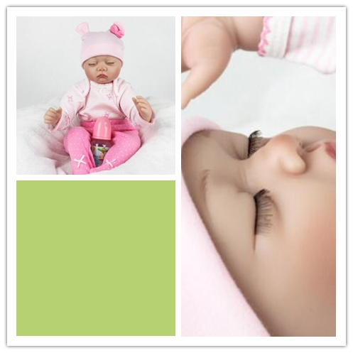silicone reborn babies baby doll props every family to appease the toy soft silicone eyes closed birthday gift every набор чехлов для дивана every цвет горчичный