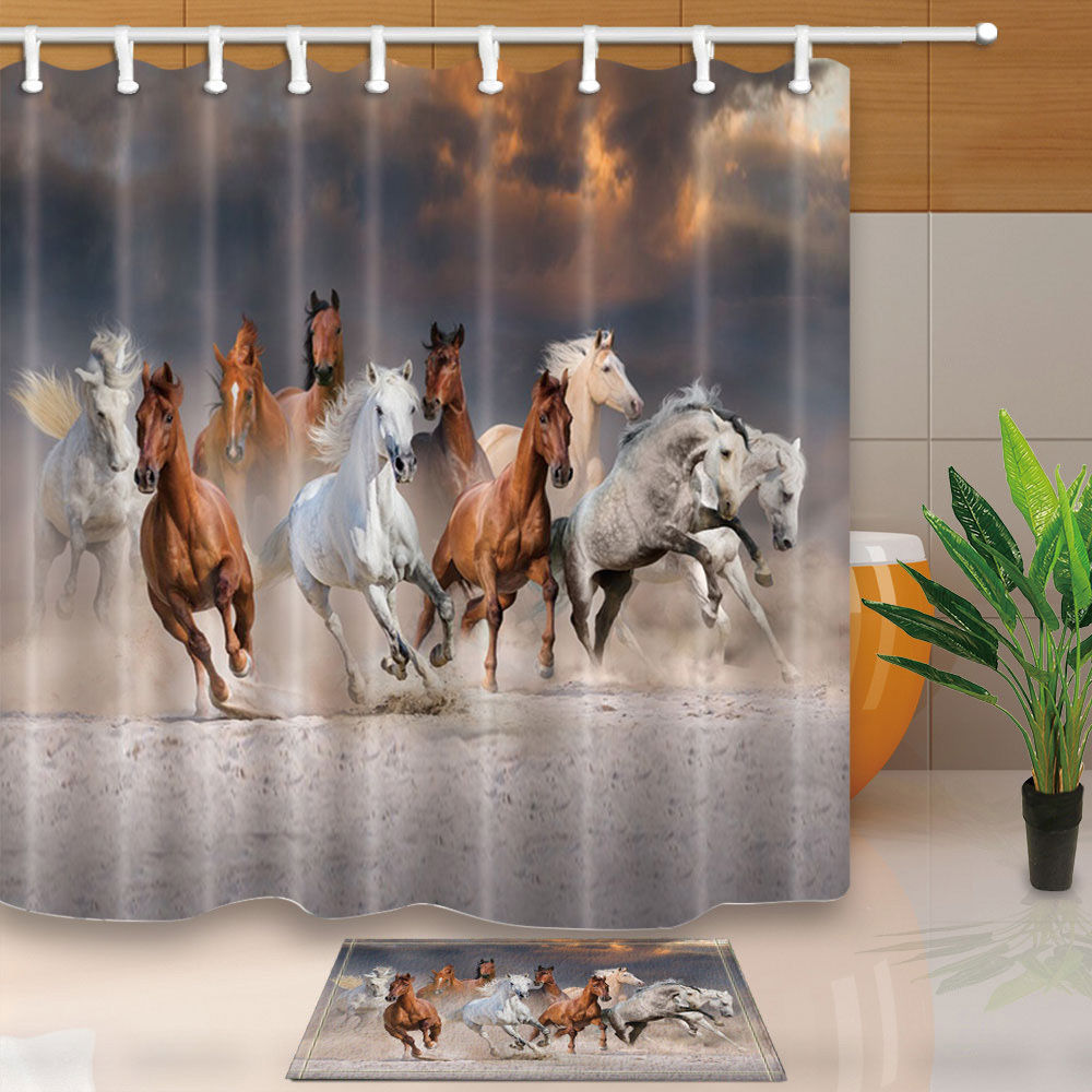 Warm Tour Horse to Success Polyester Fabric Bathroom Shower Curtain Set with Hooks