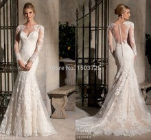 New Arrival 2015 Sheath Mermaid Wedding Dresses Scoop Neckline Full Sleeve Custom Made Applique Ruffle Sheer Straps Bridal Dress heathered flounce layered neckline sheath dress