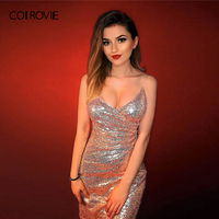 COLROVIE Pink V Neck Strapped Sequin Hot Sexy Club Dress Women 2018 Autumn Slim Party Dress Night Out Bodycon Summer Dresses