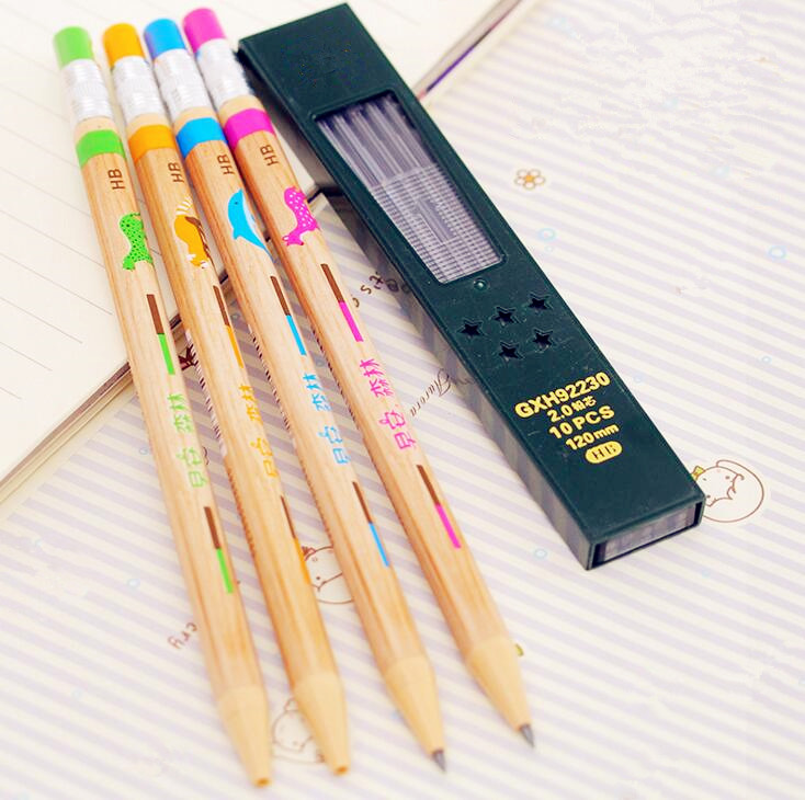 купить 1PC Forest Mechanical Pencil 2.0 mm Lead Refill Pencil Automatic Pencil 4 Colors Random Pencils For Writing with Sharpener