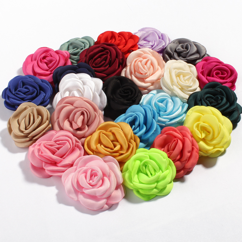 30pcs/lot 6cm 24colors Fashion Burned Hair Flowers For Hair Clips/Hairpins Vintage Fabric Flowers For Kids Hair Accessories
