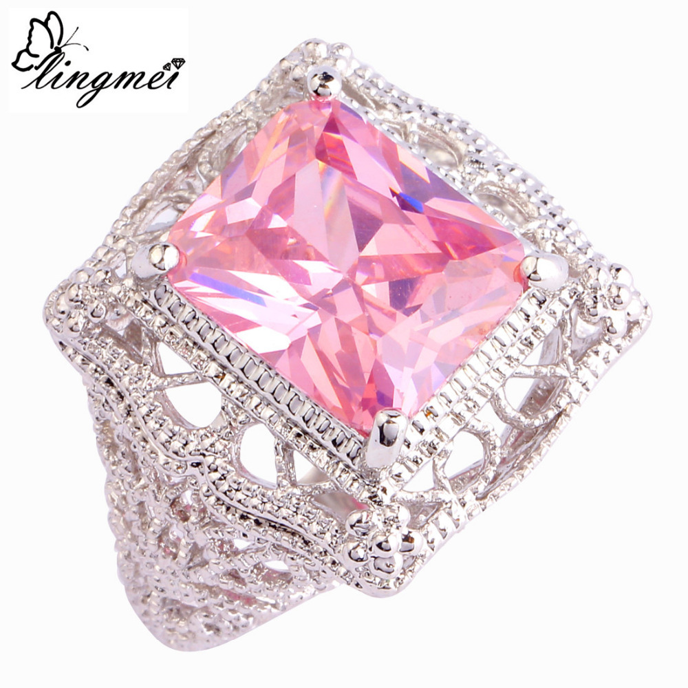lingmei Free Shipping Fashion Garnet Silver Color Ring Size 6 7 8 9 ...