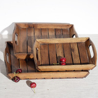 Wooden Creative Serving Tray for Dessert/Tea Rectangle Solid Wood Hotel Use Fruits/Coffee Plate Food Trays Tableware