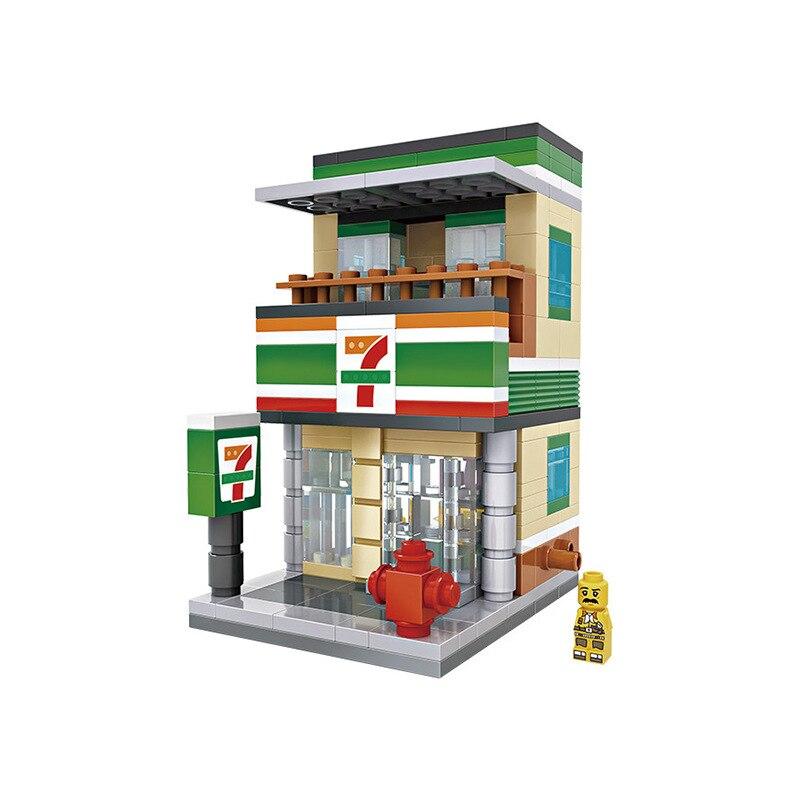 LOZ City Series Street View Seven-Eleven Mini Granule Building Blocks DIY Assembled Blocks Toys Children Early Educational Toys