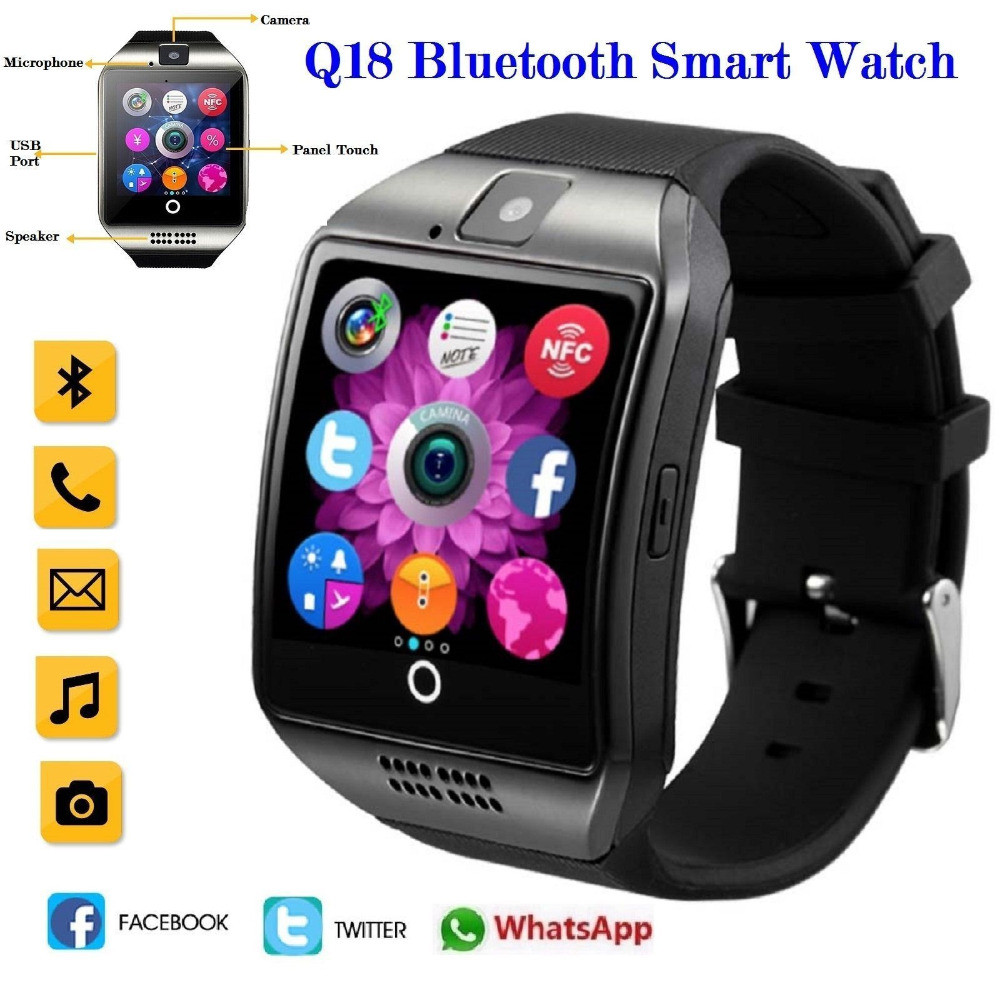 New Design 2019 Q18 Bluetooth Smart Watch Support  GSM SIM Card Audio Camera Fitness Tracker Smartwatch For Women MenNew Design 2019 Q18 Bluetooth Smart Watch Support  GSM SIM Card Audio Camera Fitness Tracker Smartwatch For Women Men