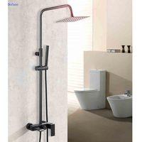 Dofaso Antique Bathroom Black Shower Faucet Rainfall Black Shower Set Dual Handle Bath Shower Taps