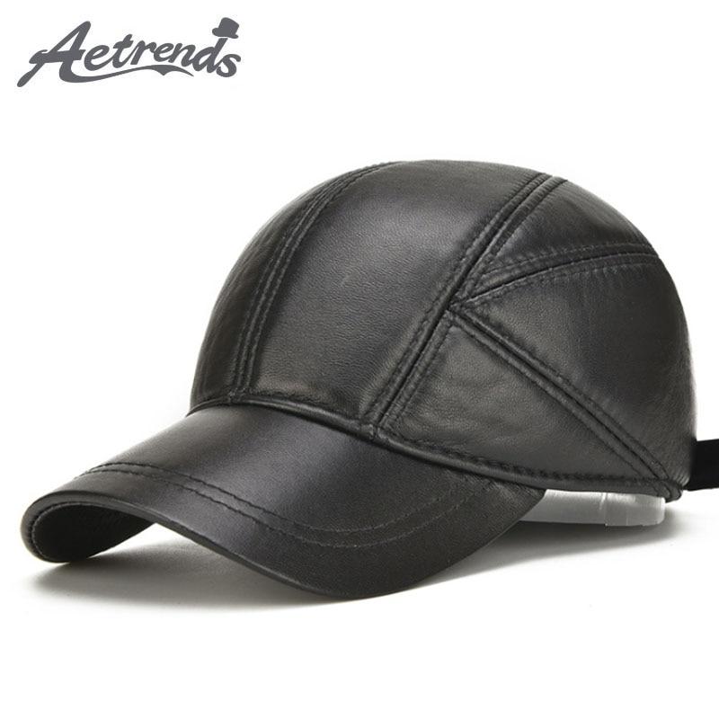 [AETRENDS] Sheepskin Leather   Cap   Winter Hats for Men Genuine Leather   Baseball     Cap   with Ears Dad Hat Trucker Hat Casquette Z-5295