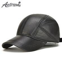 [AETRENDS] Schaffell Leder Kappe Winter Hüte für Männer Echtem Leder Baseball Kappe mit Ohren Papa Hut Trucker Hut casquette Z 5295