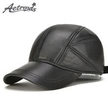 [AETRENDS] Sheepskin Leather Cap Winter Hats for Men Genuine Leather Baseball Cap with Ears Dad Hat Trucker Hat Casquette Z 5295