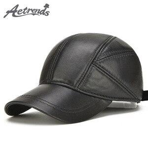 Image 1 - [AETRENDS] koyun derisi deri kap kış şapka erkekler için hakiki deri beyzbol şapkası kulaklı baba şapka şoför şapkası Casquette Z 5295