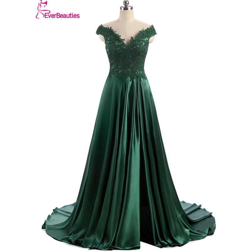 Robe De Soiree Elie Saab Evening Dress 2019 Long Dark Green Cap Sleeve Split Design Satin