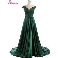 Robe De Soiree Elie Saab Abiye Uzun Düğün Koyu yeşil Cap Sleeve Bölünmüş Tasarım Saten Vestidos De Noite Para Casamento