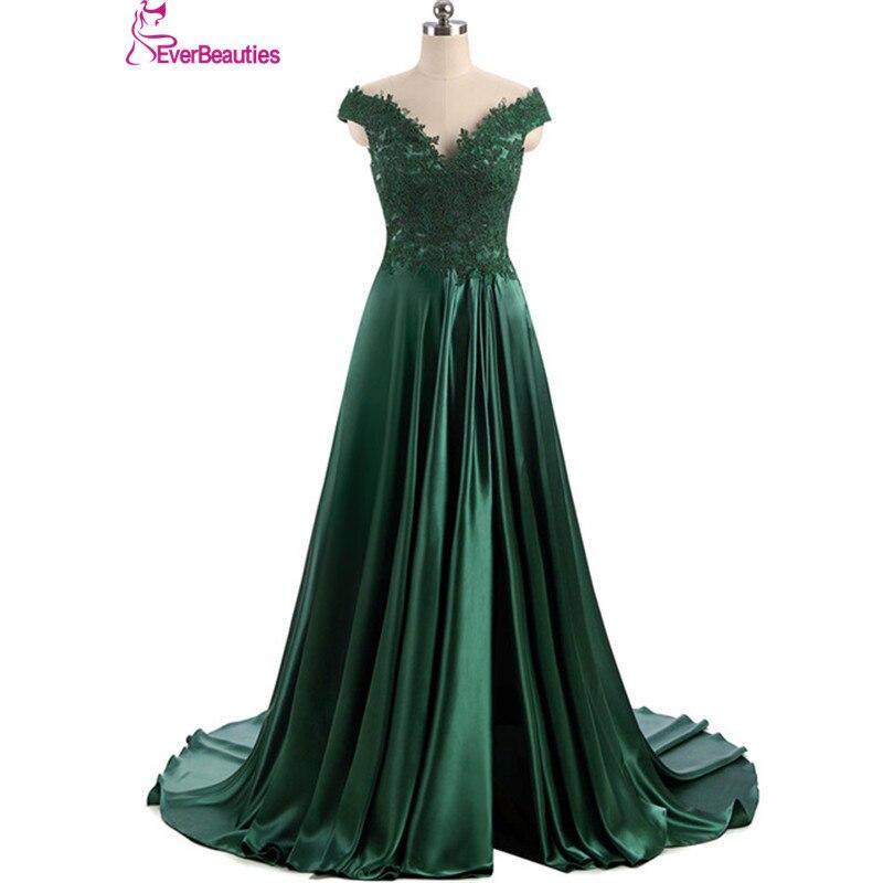 Robe De soirée Elie Saab Robe De soirée 2019 longue vert foncé Cap manches fendues Design Satin Vestidos De Noite Para Casamento