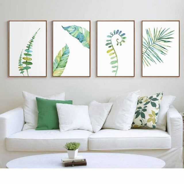 Aliexpress Nordic Modern Watercolor Plants Green Leaves Sofa Wall Art Decoration Paintings Canvas Prints Poster For Living Room Decor From