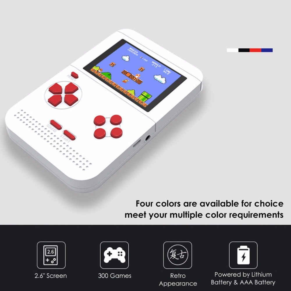 New Portable Retro Mini Handheld Toy Game Console 2.6 Inch LCD Color Children's Game Console Built-in 300 Games