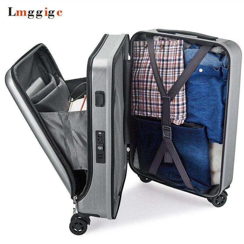 ПК дорожного чемодана, новая кабина Rolling Чемодан с Сумка для ноутбука, Для женщин тележка с зарядки USB, для мужчин высококлассные Бизнес коро...