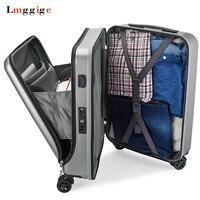 ПК дорожного чемодана, новая кабина Rolling Чемодан с Сумка для ноутбука, Для женщин тележка с зарядки USB, для мужчин высококлассные Бизнес коро