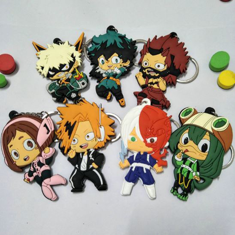 1 Pc Hot sale My Hero Academia Keychains Pendant Anime My Hero Academia PVC Action Figures Cartoon Cosplay Toys Charms Gift